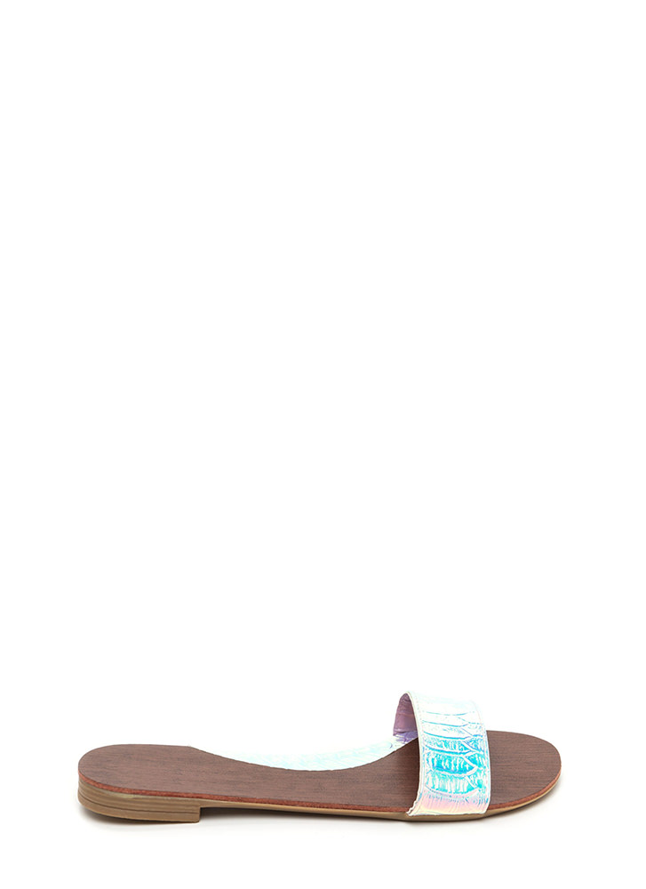 One And Done Snakeskin Slide Sandals PINK