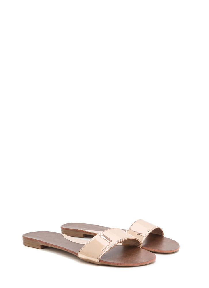 One And Done Metallic Slide Sandals ROSEGOLD