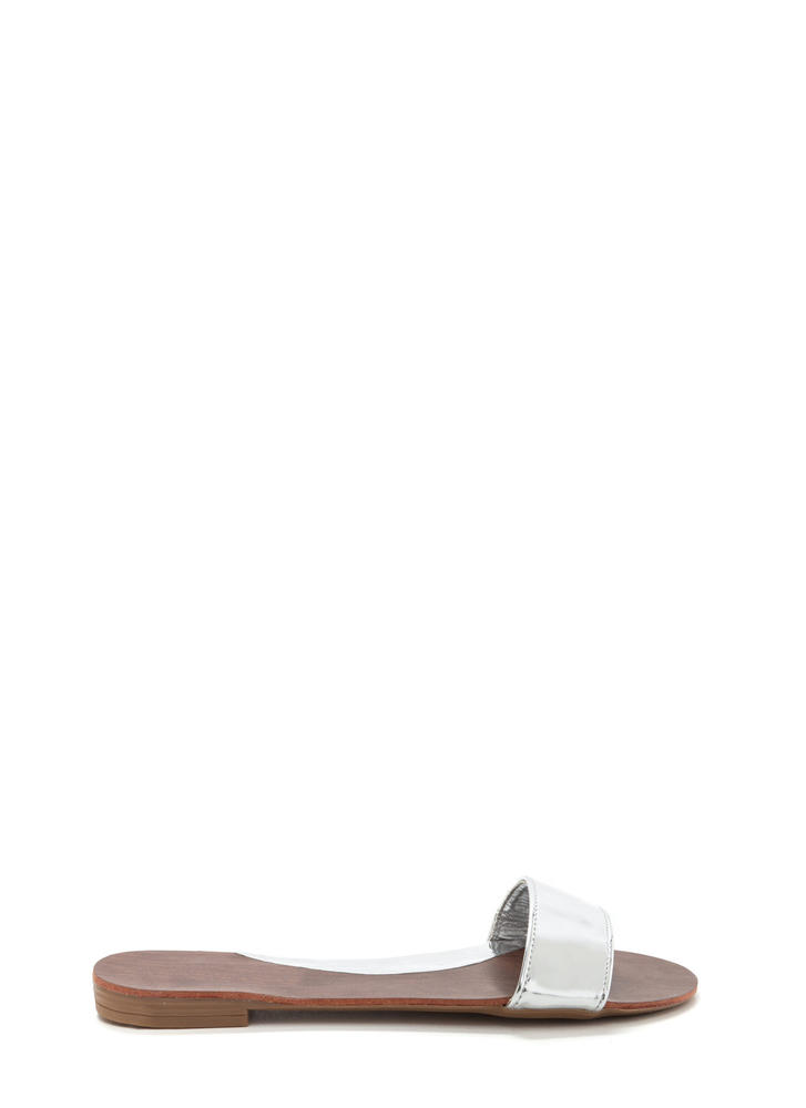 One And Done Metallic Slide Sandals SILVER