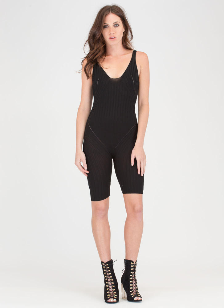 Slay Time Cropped Rib Knit Jumpsuit BLACK