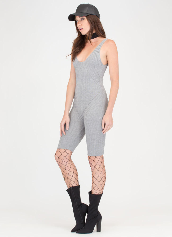 Slay Time Cropped Rib Knit Jumpsuit HGREY