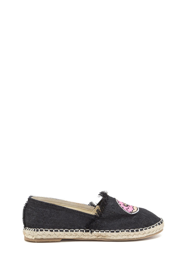 Foodie Fun Embroidered Espadrille Flats BLACK