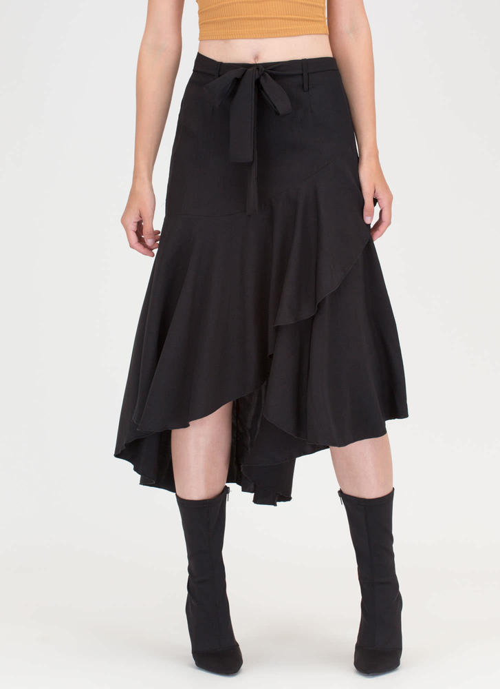 Flow Your Own Way High-Low Midi Skirt BLACK