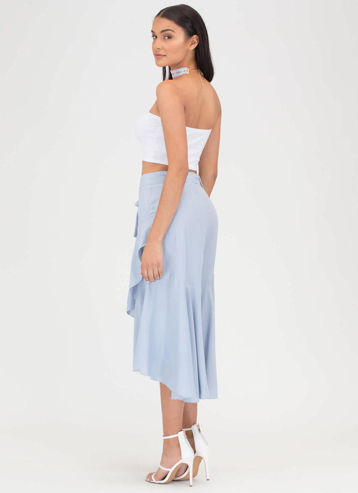 Flow Your Own Way High-Low Midi Skirt LTBLUE