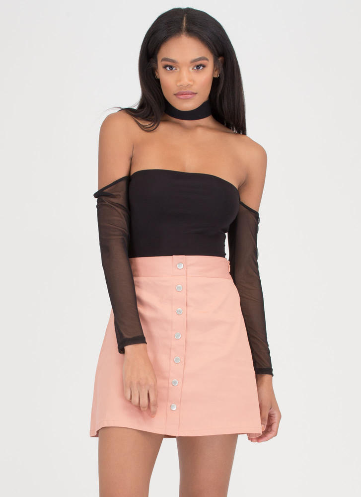 Press The Right Buttons Flared Skirt SALMON