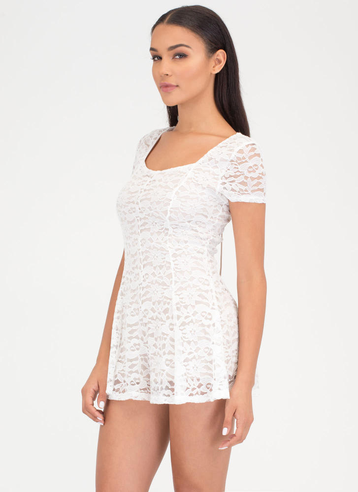 Lace Get It On Plunging Romper WHITE