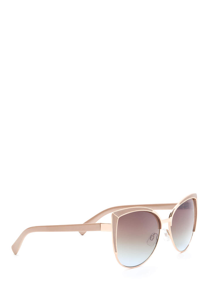Pool Party Ready Large Sunglasses BEIGEGOLD