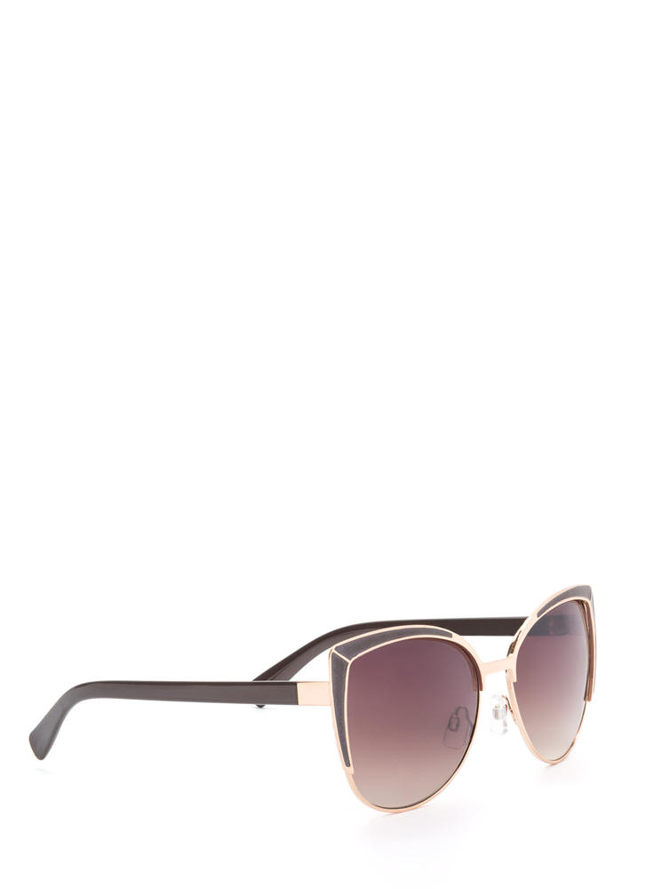 Pool Party Ready Large Sunglasses BROWNGOLD