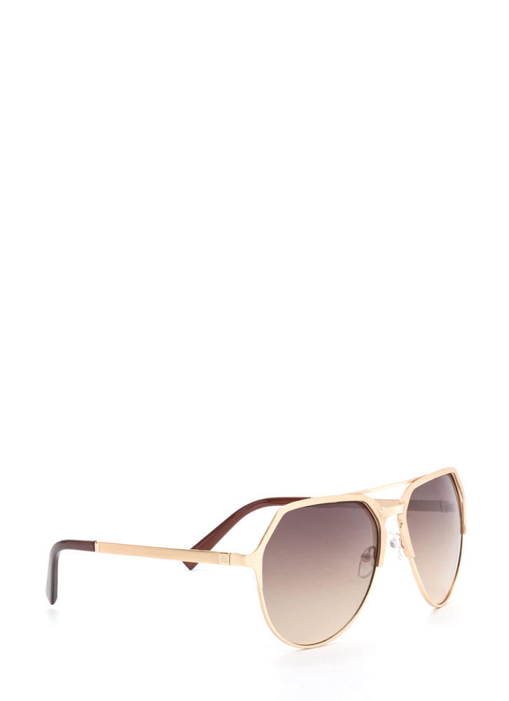 On The Go Top Bar Sunglasses BROWNGOLD