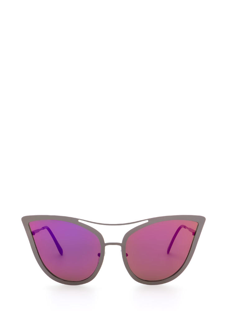 Pretty Kitty Mirrored Sunglasses PINKPEWTER