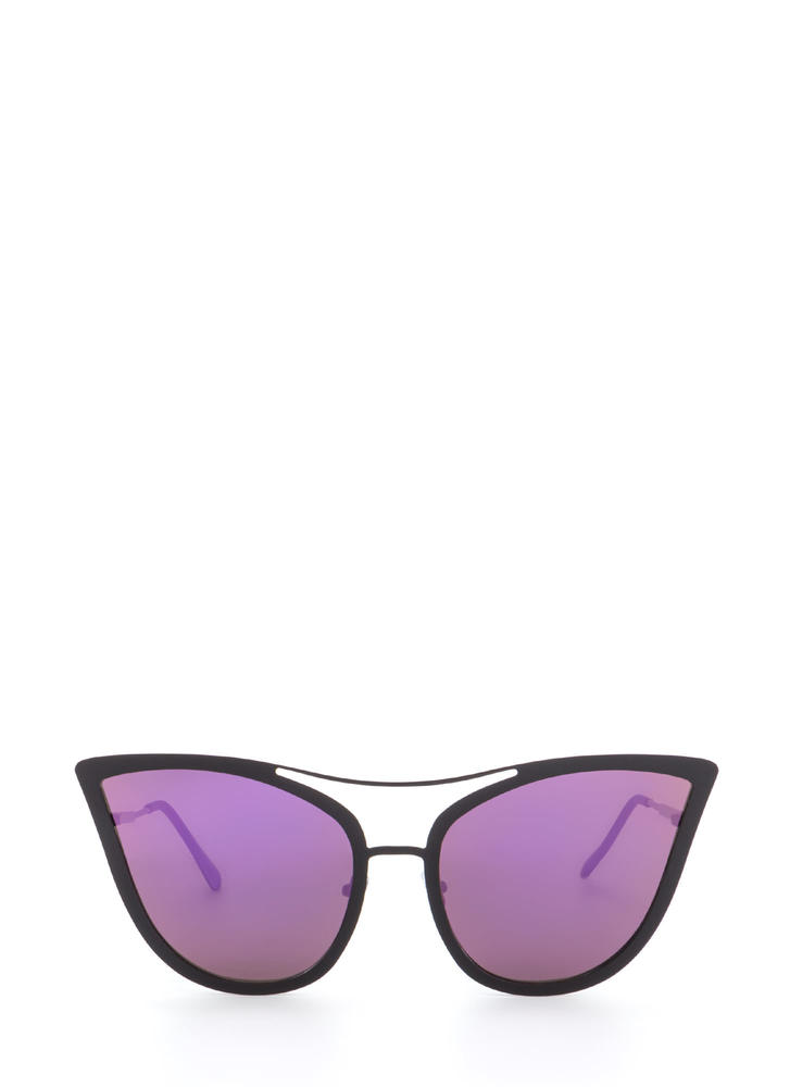 Pretty Kitty Mirrored Sunglasses PURPLEBLACK