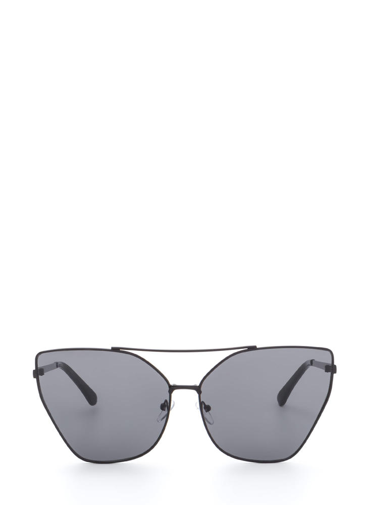 Diva Status Cat-Eye Top Bar Sunglasses BLACKBLACK
