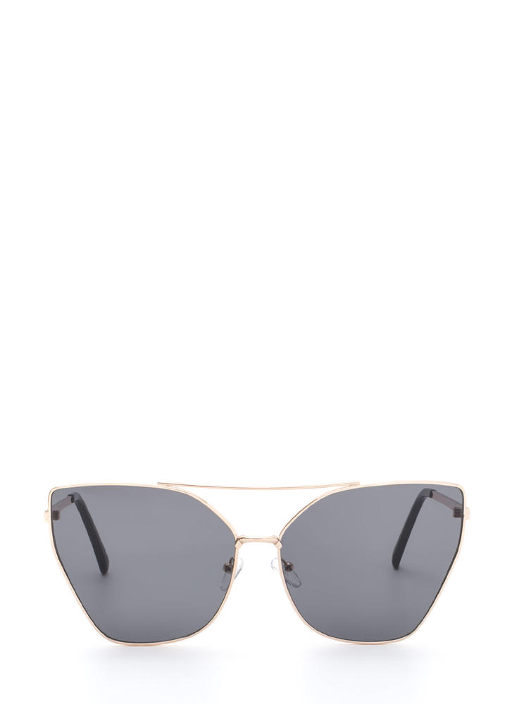 Diva Status Cat-Eye Top Bar Sunglasses BLACKGOLD