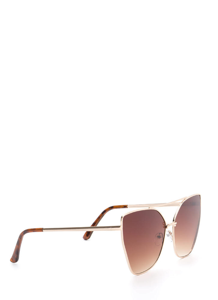 Diva Status Cat-Eye Top Bar Sunglasses BROWNGOLD