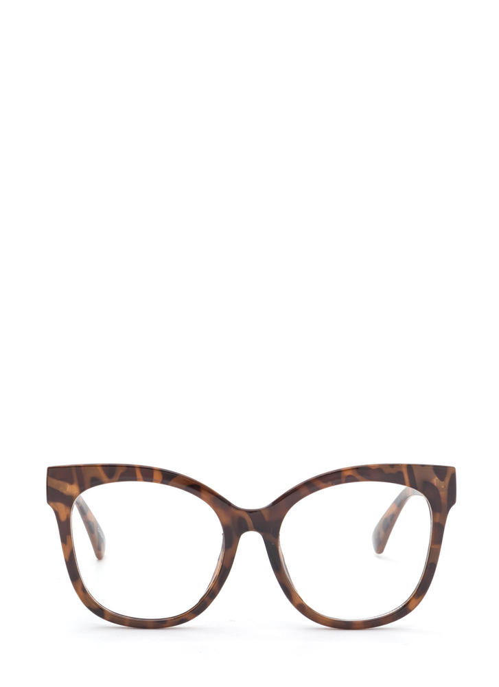 Big Time Oversized Clear Glasses BROWN