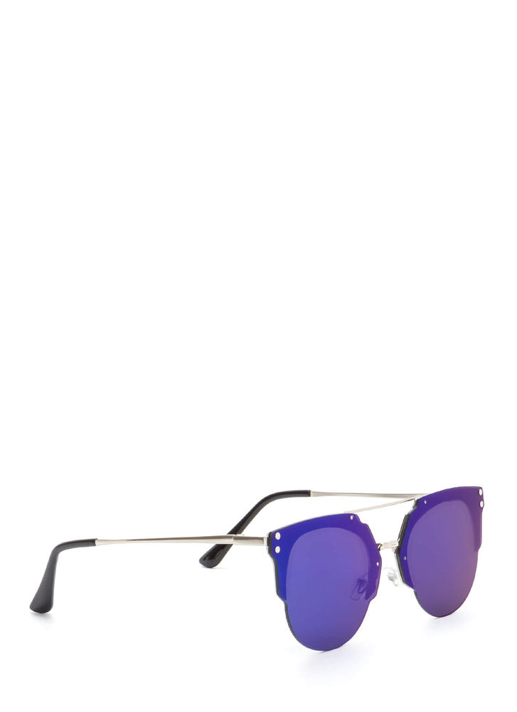 Specs Appeal Mirrored Top Bar Sunglasses BLUE