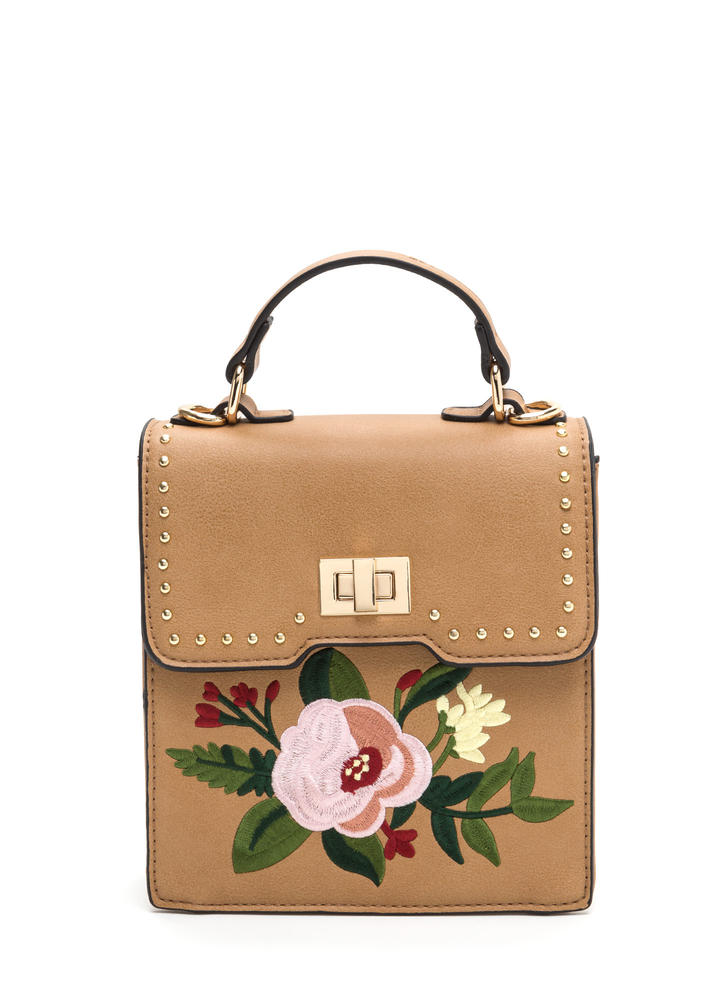 Floral Perfection Faux Leather Bag CAMEL