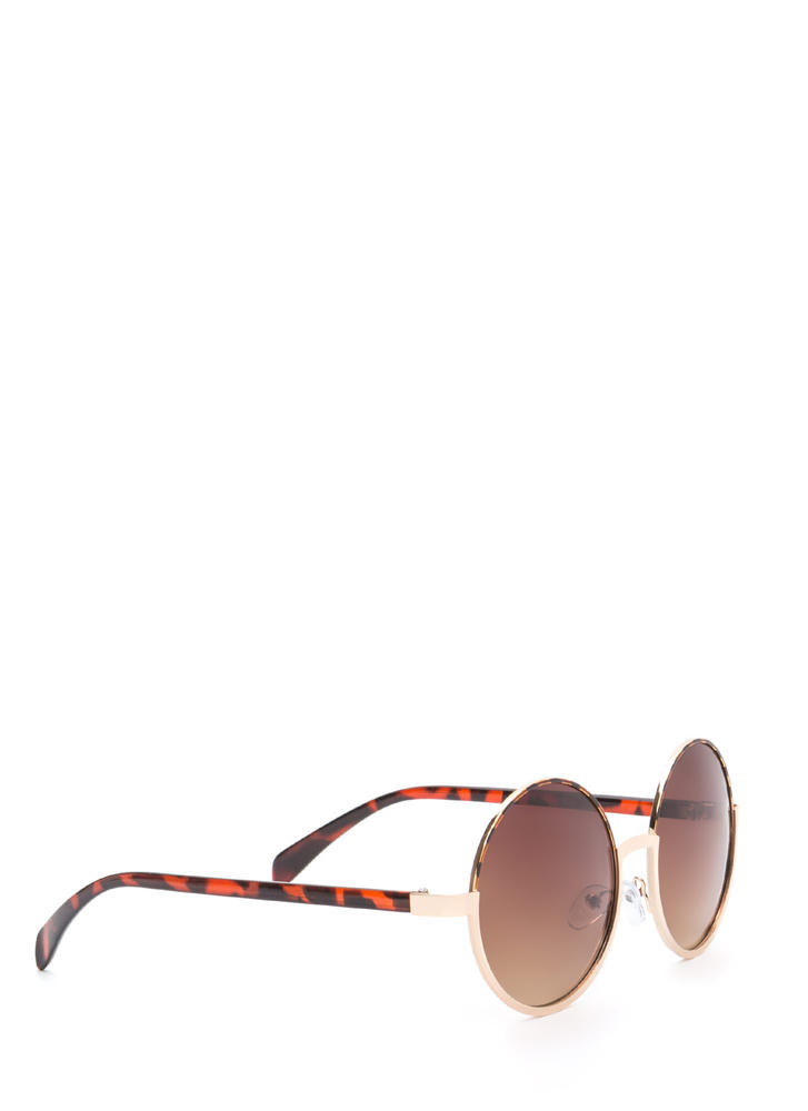 Woodstock Trip Round Sunglasses BROWNGOLD