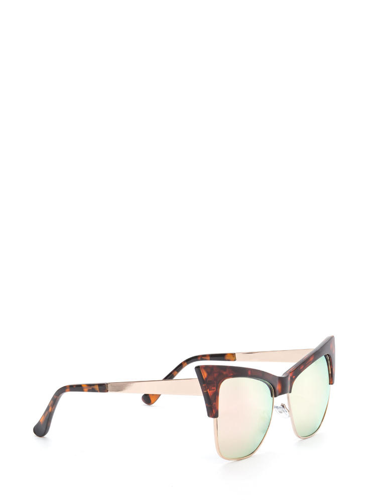 Cat's Meow Brow Bar Sunglasses ORANGEBROWN