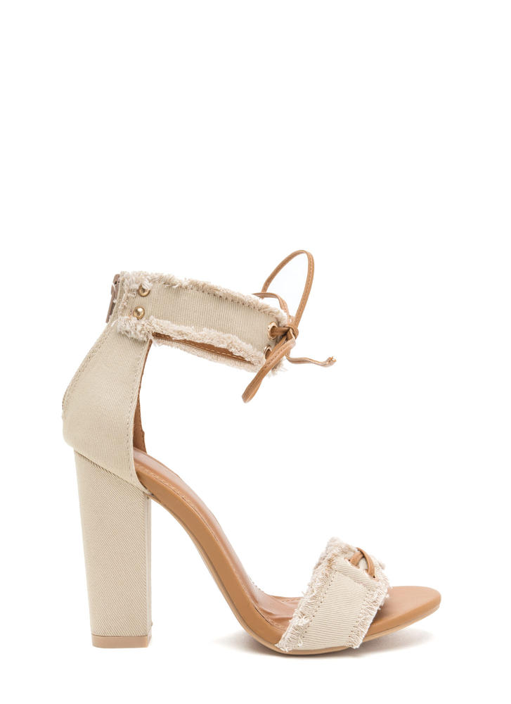 Fray Hard To Get Lace-Up Chunky Heels BEIGE