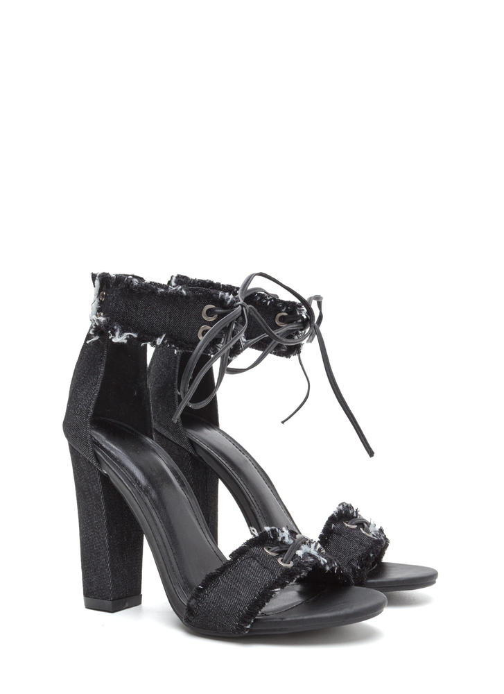 Fray Hard To Get Lace-Up Chunky Heels BLACK