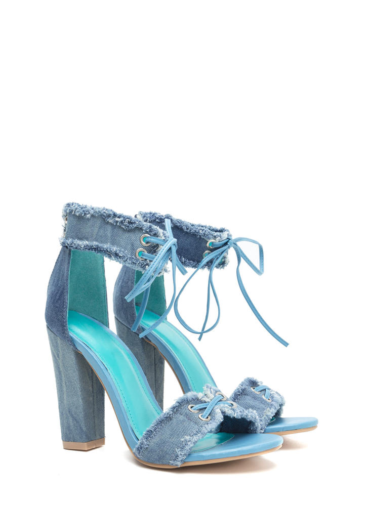 Fray Hard To Get Lace-Up Chunky Heels BLUE