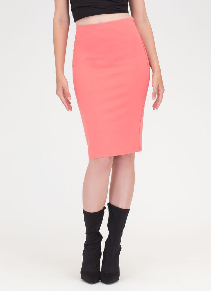 Work It Bodycon Pencil Skirt CORAL