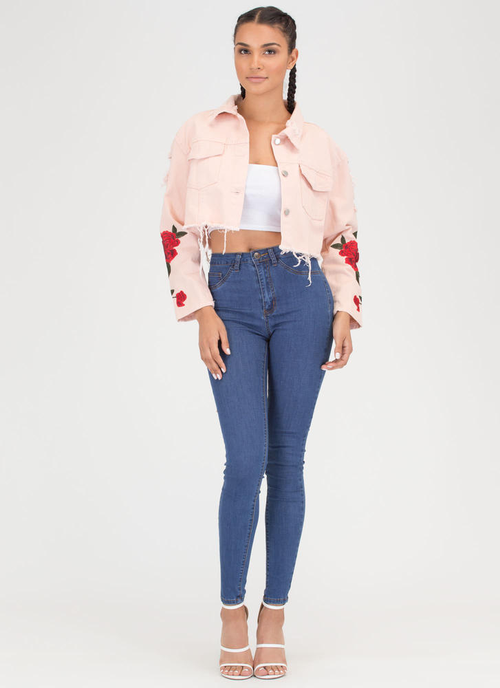 Garden Roses Distressed Denim Jacket PINK