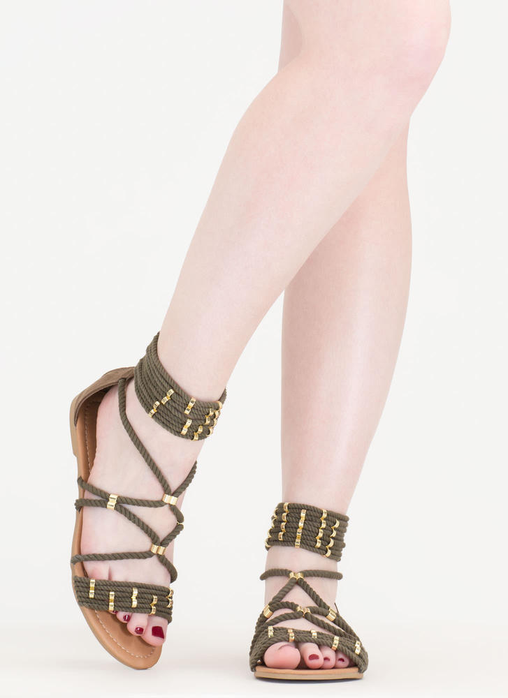 Rope You In Strappy Caged Sandals KHAKI