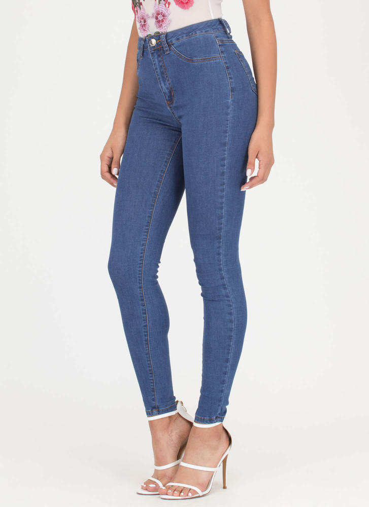 Oh My High-Waisted Skinny Jeans BLUE