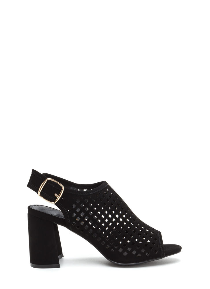 We're Square Cut-Out Chunky Heels BLACK