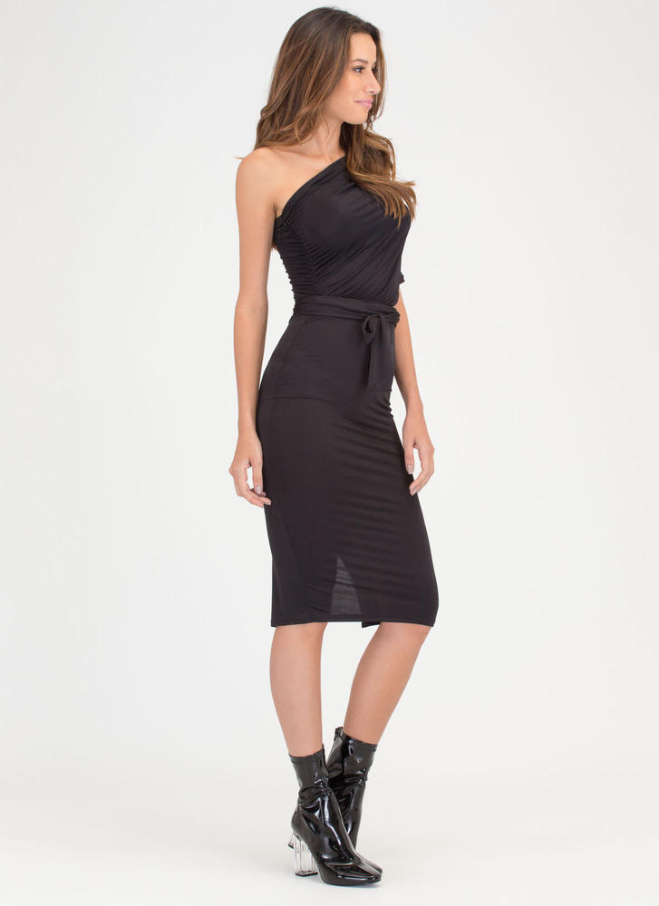 Take New Drape Tied One-Shoulder Dress BLACK