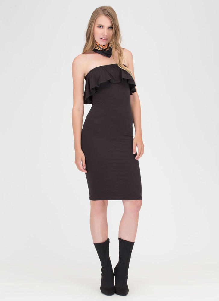 What A Frill Strapless Midi Dress