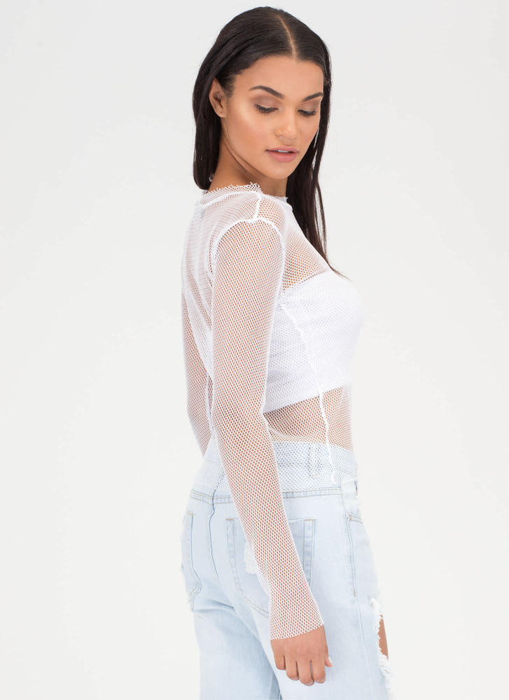 Support Network Sheer Long-Sleeve Top WHITE