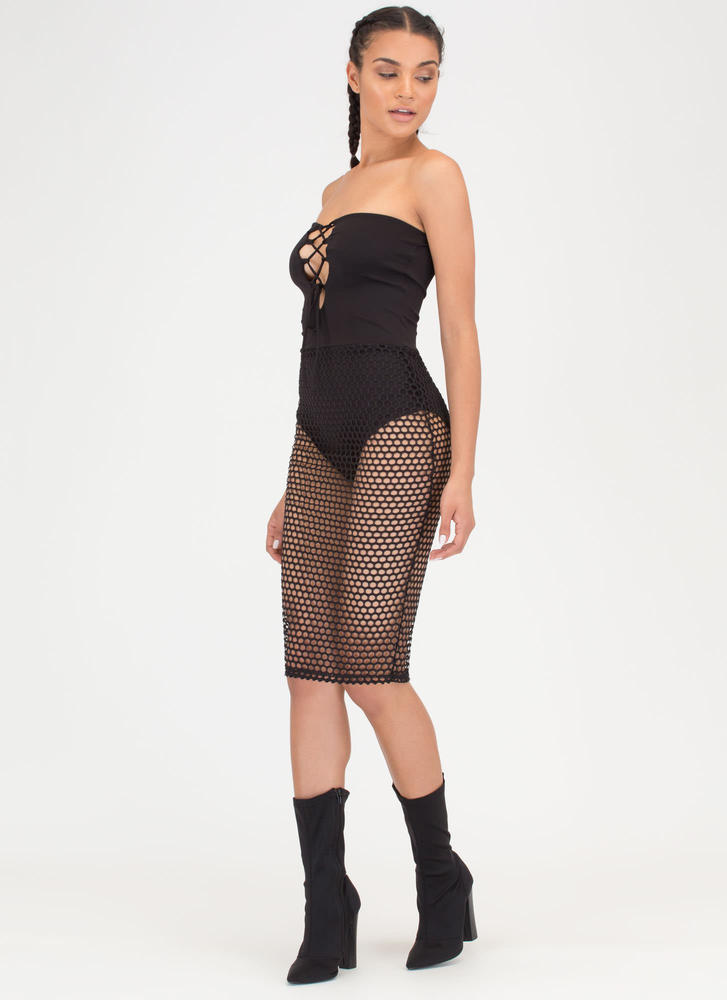 Hole Thing Strapless Lace-Up Mesh Dress BLACK