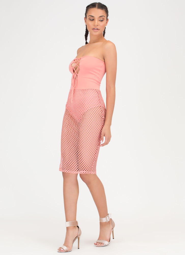 Hole Thing Strapless Lace-Up Mesh Dress CORAL
