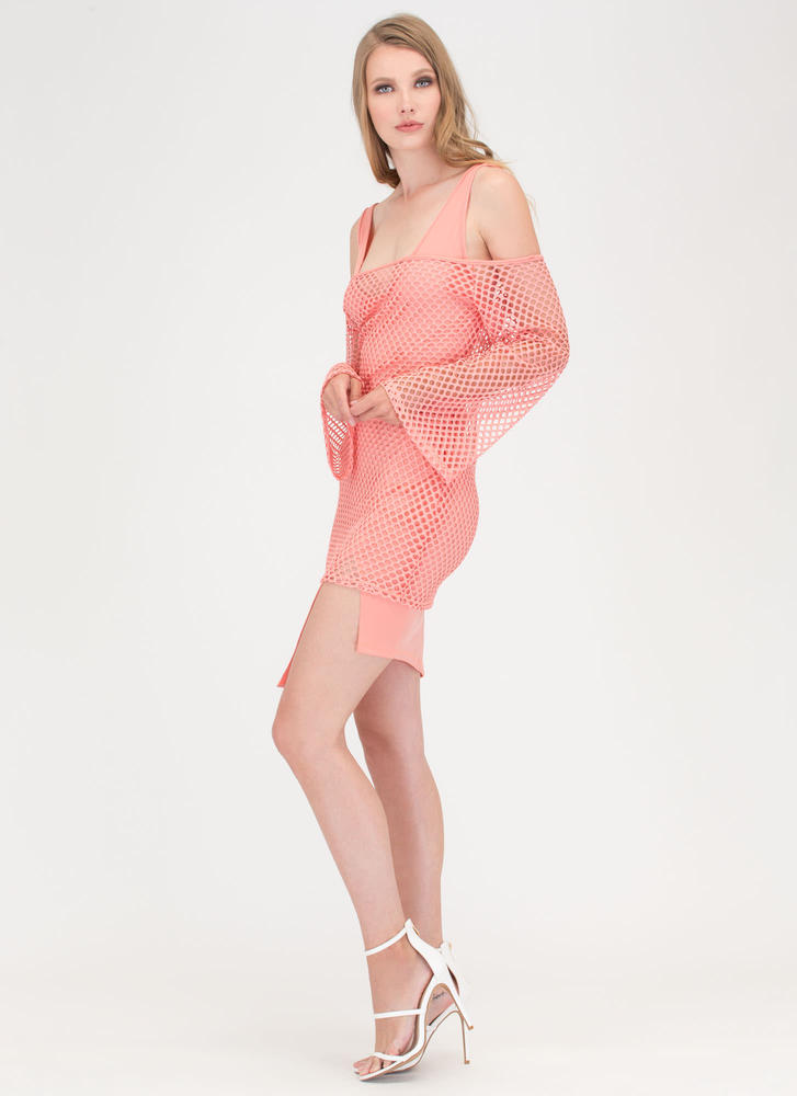 Ready Net Go Off-Shoulder High-Low Dress CORAL