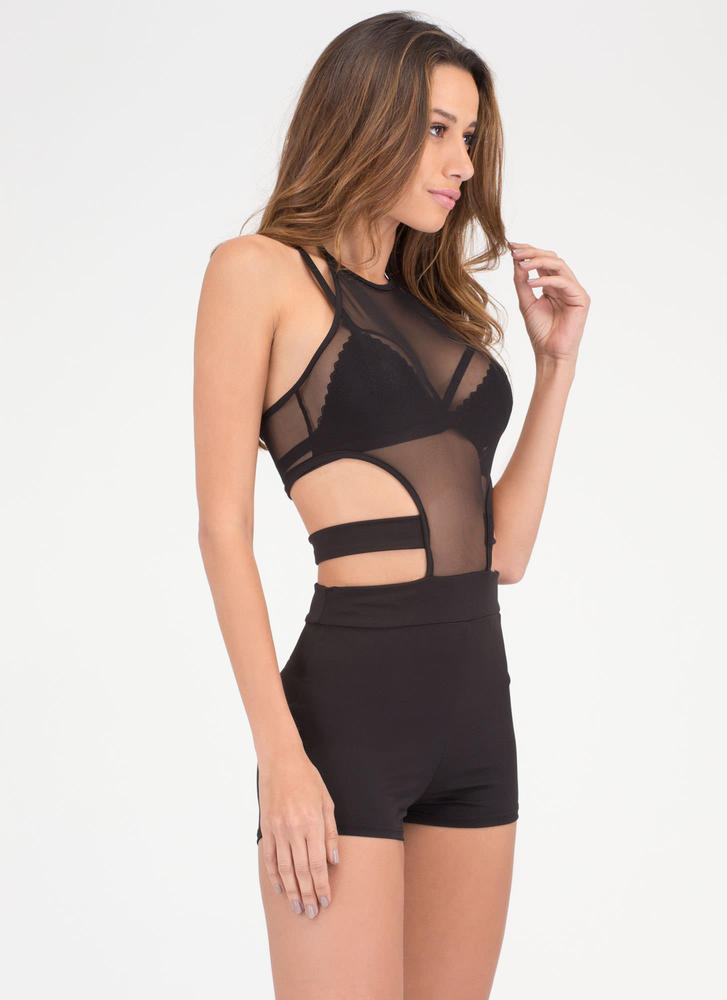 Mesh Things Up Cut-Out Halter Romper BLACK