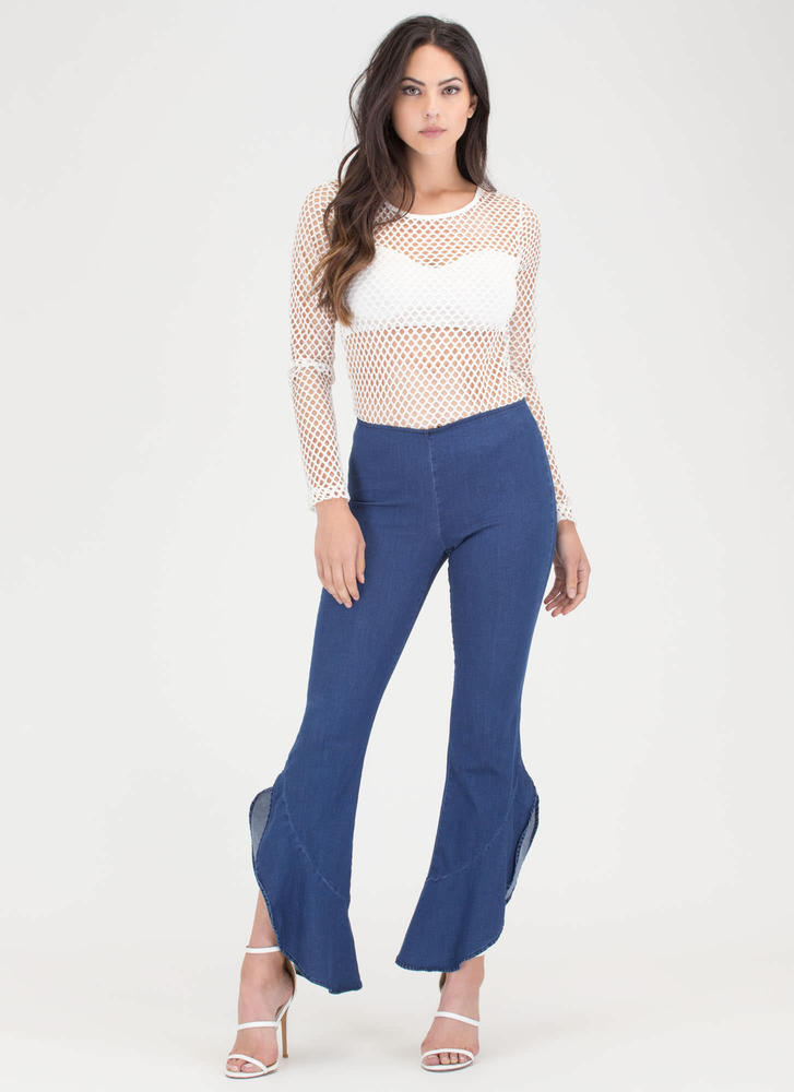Flounce Around Flared Ruffled Pants DKBLUE