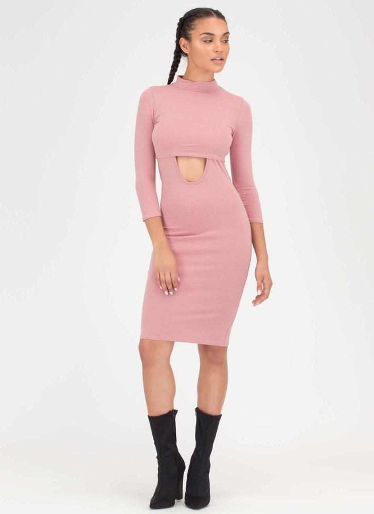 Jumper Round Two-Piece Mockneck Dress