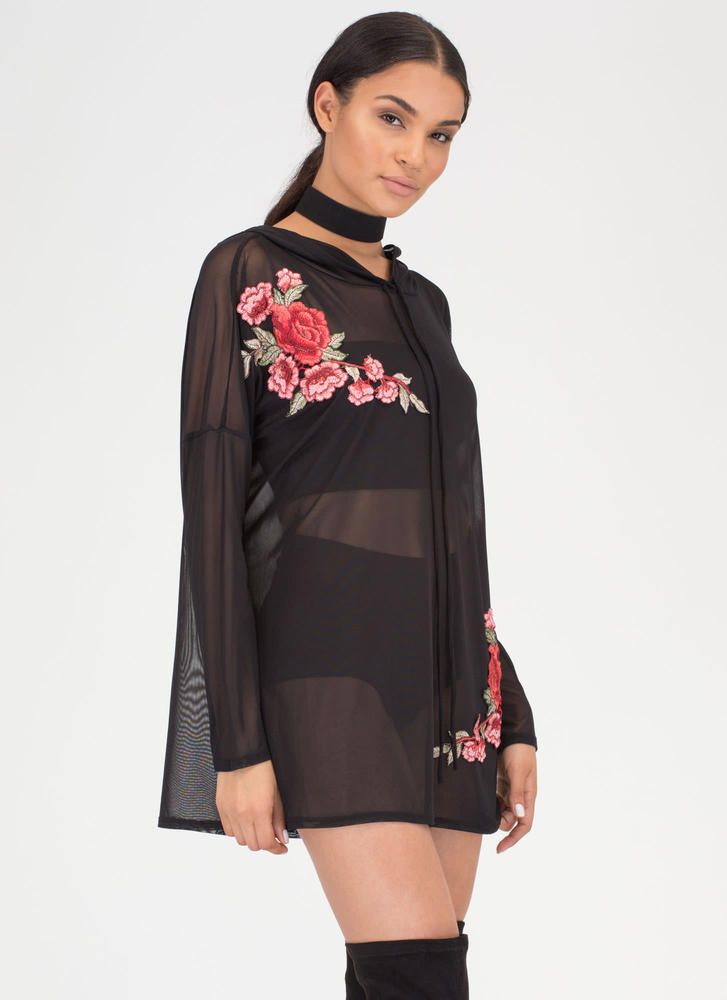 Sheer For U Embroidered Hoodie Dress BLACK
