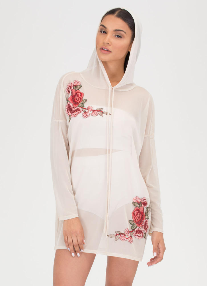 Sheer For U Embroidered Hoodie Dress SAND