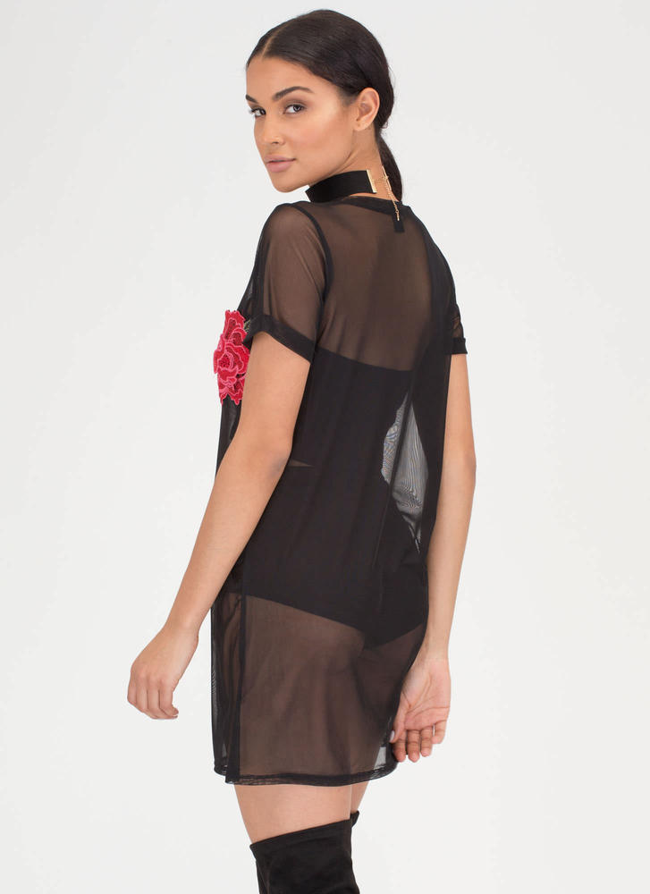 By Any Other Name Sheer Tee Dress BLACK