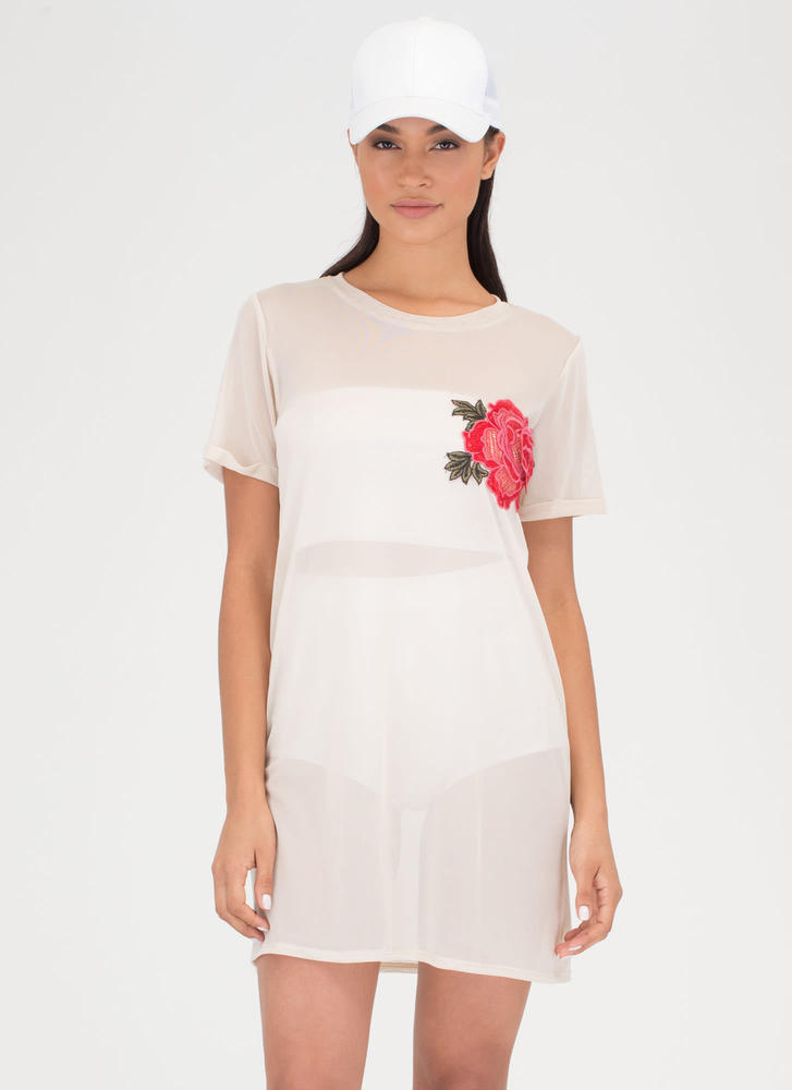 By Any Other Name Sheer Tee Dress SAND