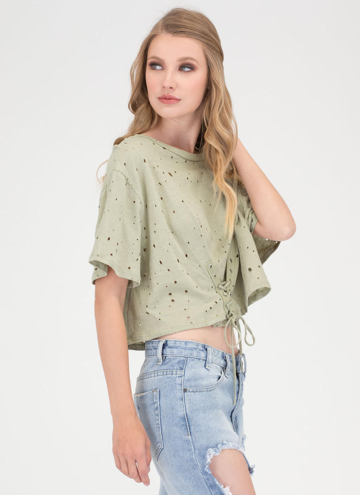 Breezy Sunday Lace-Up Crop Top SAGE