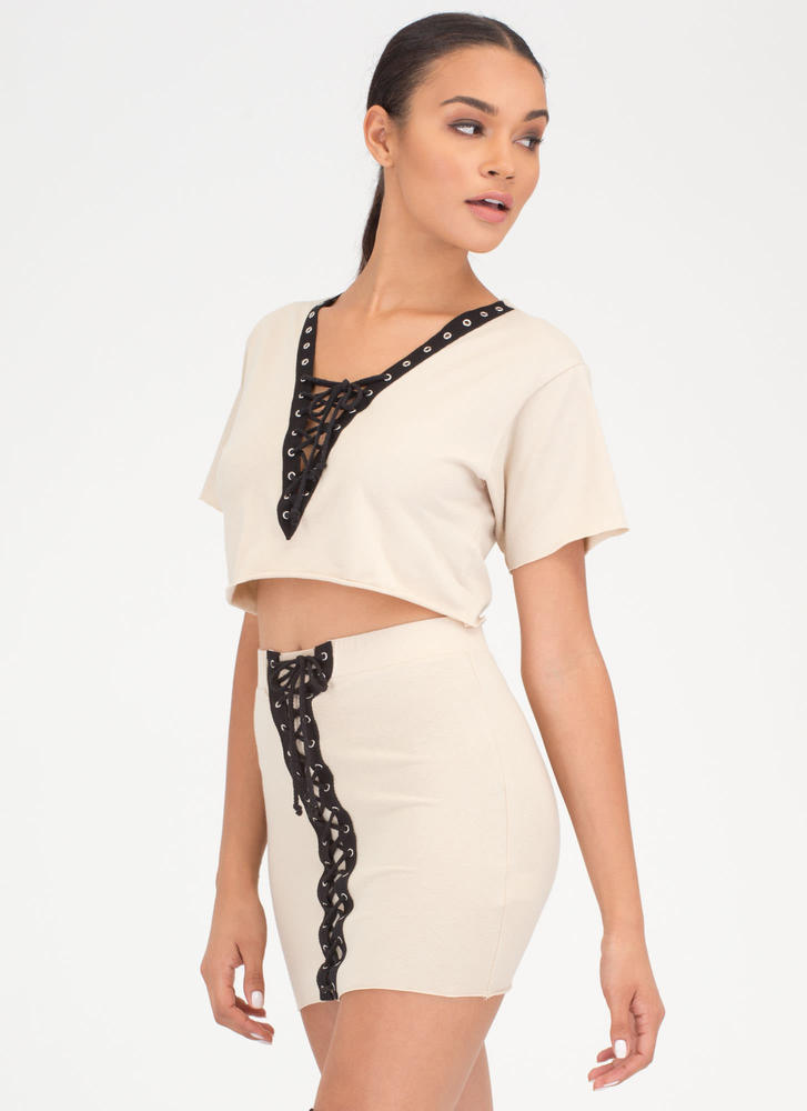 All Laced Up Two-Piece Minidress KHAKI