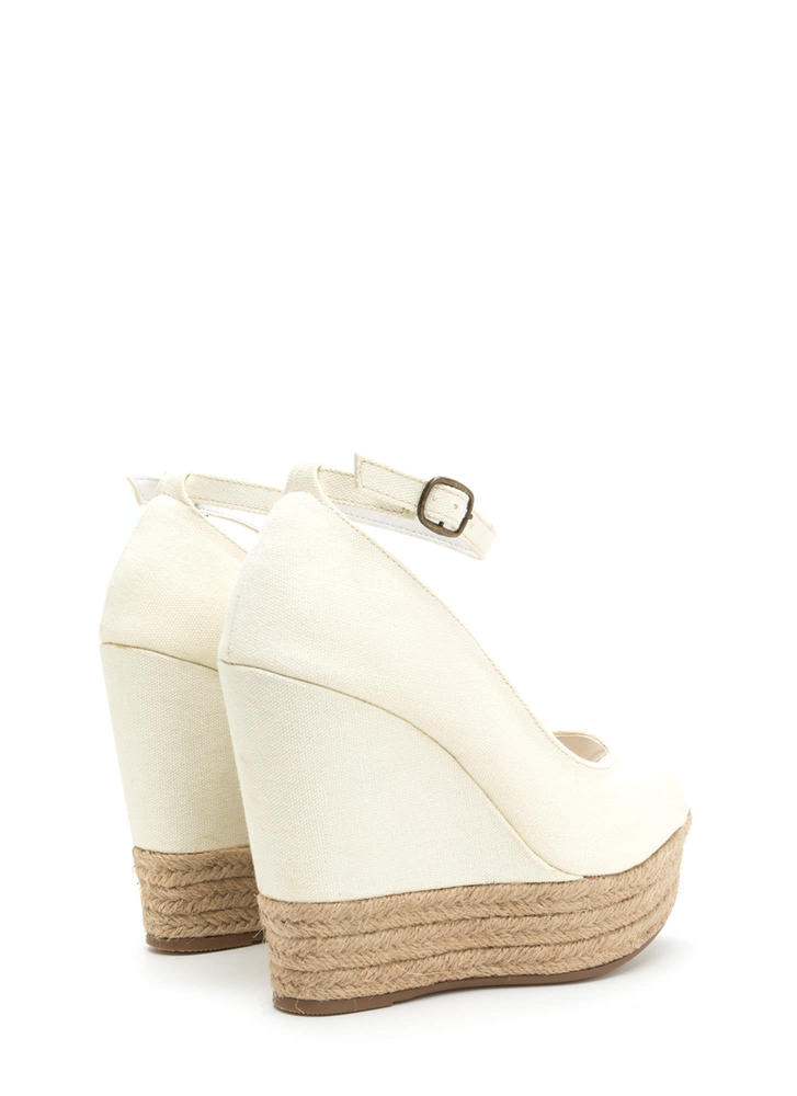Sea You Later Peep-Toe Espadrille Wedges BEIGE