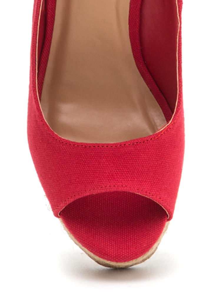 Sea You Later Peep-Toe Espadrille Wedges RED