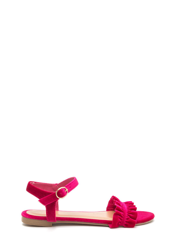 Walking On Air Ruffled Velvet Sandals