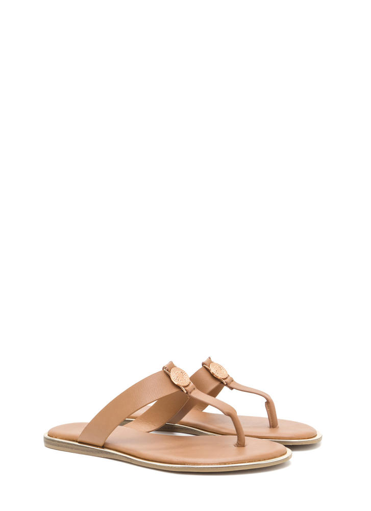 Mystic Spiral Faux Leather Sandals TAN